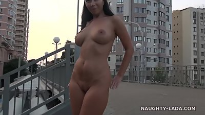 NaughtyLada Totally nude in a city