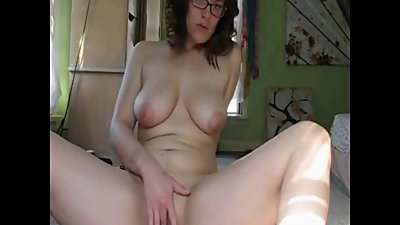 Secretary Lou masturbating after work