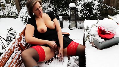 MILF with Dildo in the snow...and..