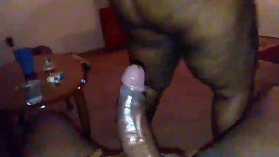 Bouncing on babe big black dick