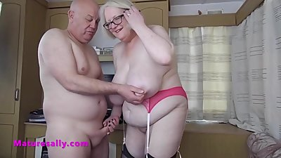 Mature Sally in hot pink underwear