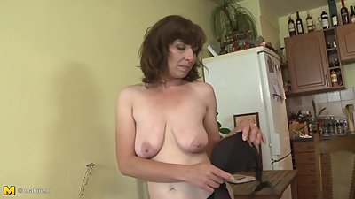 Amateur mother with saggy tits and..