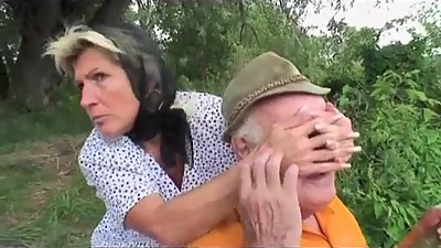 Grandpa fucks busty teen and mom by..