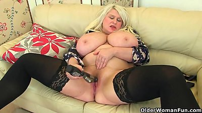 Big titted milf Sam fucks herself with..