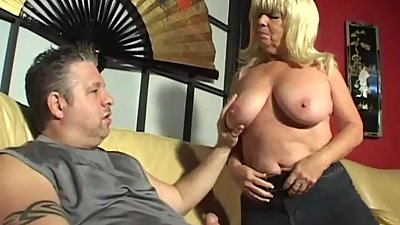 Big titted smoking granny sucks hard..