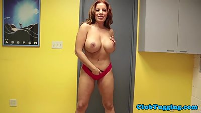 Bigtitted mature tugging and sucking..