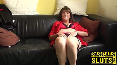 Hot mature with big natural tits plays..