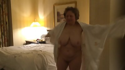 Candid moment with naked grandma