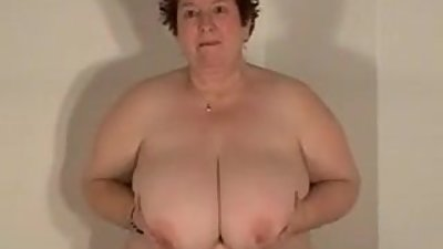 Solo play - huge mature tits