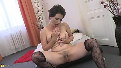 Amateur MILF with hairy pussy and..