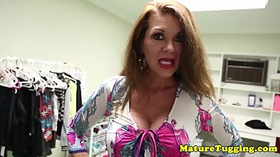 Busty mature jerking and tittyfucking